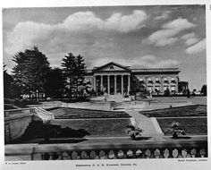 ' Lynnewood Hall ', the Peter A. Widener estate designed by Horace Trumbauer c. 1898 in Elkins Park, Pennsylvania . Widener was a t. Lynnwood Hall, Spanish Mansion, Elkins Park, American Mansions, Hall Flooring, Mansion Interior, Gilded Age, Country Estate, Architectural Elements