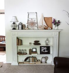 Bookcase fireplace tutorial from Tutorials Faux fireplace and