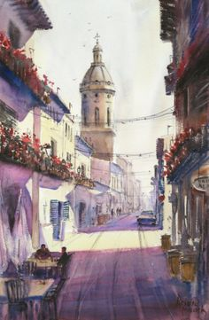 """Puente la Reina"" Navarra, Spain, watercolour by Prabal Mallick, Bangalore, India"