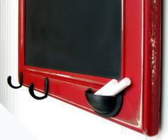 19 x 28 in. Framed Chalkboard in Barn Red...love the drawer pull as the chalk holder!