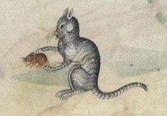 A cat, f. 190r, Luttrell Psalter, Add MS 42130, produced in Lincolnshire, England c. 1320-1340