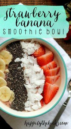 Strawberry Banana Smoothie Bowl   read more at http://happilythehicks.com