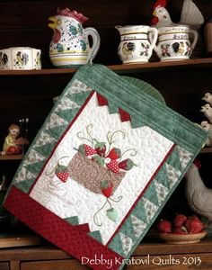 "This free quilt pattern is called ""Wild Strawberries"".  Bring the garden into your home with these plump strawberries in a basket. The 9″ x ..."