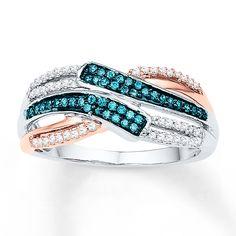 Blue & White Diamonds 1/3 Carat tw  Sterling Silver/10K Gold