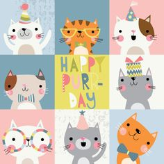 Pin by shana ziff on cat&dog in 2019 cat drawing, cat birthday, illustr Happy Birthday Images, Birthday Pictures, Happy Birthday Cards, Birthday Greetings, Birthday Wishes, Cute Animal Illustration, Art And Illustration, Animal Illustrations, Illustrations Posters