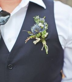 """Rustic boutonniere would be neat. """"Blue thistle boutonnieres with rosemary for the groomsmen & other gentlemen, then add some purple gomphrena to the groom's boutonniere. Thistle Boutonniere, Blue Boutonniere, Boutonnieres, Thistle Bouquet, Rustic Boutonniere, Floral Wedding, Wedding Bouquets, Wedding Flowers, Wedding Centerpieces"""