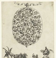 Medaillon met bloemen en bladeren, Balthazar Moncornet, after Francois Lefebure, Jacques Callot, after 1635 - before 1647 - Rijksmuseum