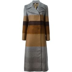Etro Long Striped Coat (261.065 RUB) ❤ liked on Polyvore featuring outerwear, coats, grey, etro, long gray coat, grey coat, striped coat and long grey coat