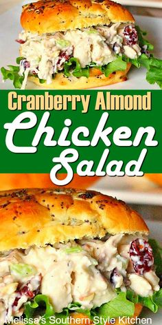 Lunch Recipes, Cooking Recipes, Dinner Recipes, Healthy Recipes, Sandwich Recipes, Cranberry Almond Chicken Salad, Cranberry Salad, Chicken Salad With Cranberries, Almond Joy