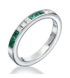 OGI Wedding Bands LTD - Diamond & Emerald Channel Band 18K White Gold Princess Eternity Band