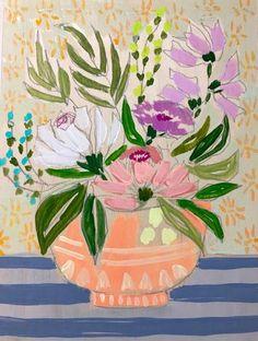 FLOWERS FOR LANA - 9x12 Protea Art, Fine Art Textiles, Spider Art, Illustration Blume, Bohemian Flowers, Small Art, Abstract Wall Art, Painting Inspiration, New Art