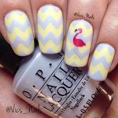 Cute Nail Art, Cute Nails, Nail Polish Designs, Nail Designs, Matte Top Coats, Zig Zag, Flamingo, Nailart, Amethyst