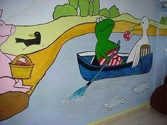 """""""Kikker is verliefd""""  muurschildering voor mijn dochter naar haar favoriete boek van Max Veldhuizen. Beschildering door Alice van Munster"""