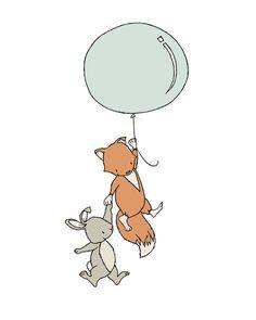 Fox and Bunny Balloon, Woodland Nursery Art, by SweetMelodyDesigns