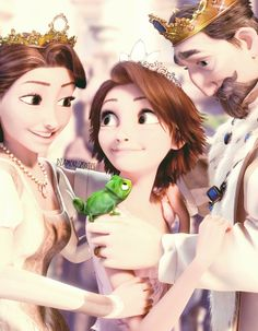 Tangled i find it adorable that the mom is looking at Rapunzel and her dad is looking at Pascal and yet they are all smiling :) so cute