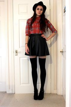 H&M Black Trilby, New Look Checked Shirt, New Look Leather Look Skirt, H&M Thigh High Socks, New Look Studded Wedges