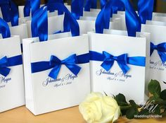 Royal Blue Wedding Gift Bags with satin ribbon, bow and names - Elegant Personalized Paper Bag - Custom Wedding Gift bags