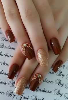 77 Trendy Brown Nail Art Designs and Ideas - Brown nail designs are of great diversity because they have dominated the market since a long time - Brown Nail Art, Gold Nail Art, Brown Nails, Gold Art, Edgy Nail Art, Brown Art, Acrylic Nail Designs, Nail Art Designs, Acrylic Nails