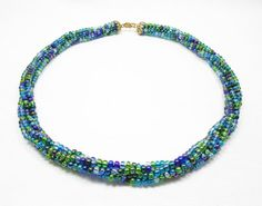 Blue and Green Kumihimo Necklace by kiddercreations on Etsy