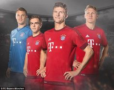 (From left) Manuel Neuer, Philipp Lahm, Thomas Muller and Bastian Schweinsteiger show off new kits