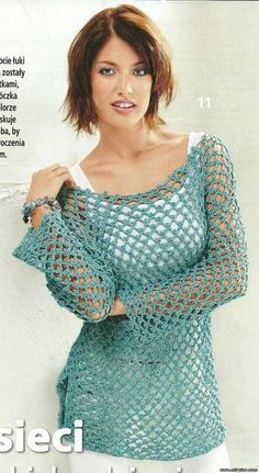 Crochet golden green lace T-shirt! Diagrams ++ many more crochet diagrams and attire