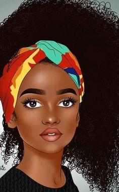 Black Art Painting, Black Artwork, Black Love Art, Black Girl Art, Natural Hair Art, Natural Hair Styles, Drawings Of Black Girls, African Art Paintings, Black Girl Cartoon