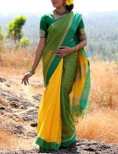 Yellow Green Bengal Handloom Saree