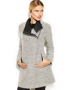59604c090b0 Calvin Klein Asymmetrical Faux-Leather-Trim Wool-Blend Coat Petite Outfits