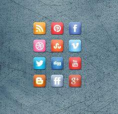 free Slick Grid Style Free Social Media Icon Set