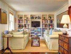 Living Room built-in wall units. Traditional Living Room with built-in wall unit decorated with books and coastal decor. #LivingRoom #builtinwallunit Sotheby's Homes.