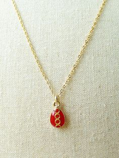 Red Teardrop Necklace Red Resin Necklace by CapriciousBijoux, ¥1700