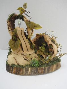 OOAK Fairy House, Wood, Miniatures, Fantasy #Handcrafted