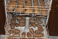 Alternate STEP 1: Easy Baked Potato Bar -Wash the potatoes in the dishwasher on the shortest cycle. Do not use detergent. Open the dishwasher door and allow the ...