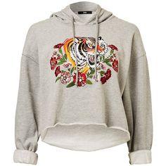 TIGER CROP HOODIE ($7.14) ❤ liked on Polyvore featuring tops, hoodies, embroidered hoodies, sweatshirt hoodies, grey hoodie, cropped hoodies and hooded sweatshirt