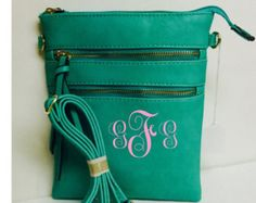 Leather Crossbody Turquoise Purse with FREE Monogramming - Edit Listing - Etsy