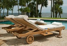 Resort Style Chaise Lounger  Each Somerset teak outdoor chaise lounger is crafted to ensure the ultimate in comfort and luxury:      The multi-position backrest and articulating knee folds flat.      Rubberized wheels enhance portability and subdue rolling noises over not-so-smooth surfaces.      Pullout trays slide out from either side to rest your Margaritas, tanning lotion and cell phone.