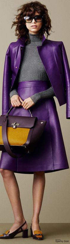 Bally Fall 2015 RTW / Purple Leather Skirt & Jacket
