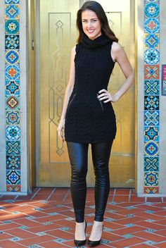 """BUY IT RIGHT HERE! Comment """"sold, your size and email"""" to get an invoice right to your inbox! Ella Sweater Dress in Black Price: $30.00, Free Shipping Options: Small, Medium, Large Model is wearing small. Made from 55% cotton, 40% polyester, 5% spandex. Zipper pockets. Fits true to size, super stretchy! small - 34"""" bust, 32"""" long medium - 36"""" bust, 32.5"""" long large - 38"""" bust, 33"""" long"""