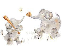 Elephant painting, Baby Boy Nursery, Sports Nursery, Boys Nursery Art, Baseball, Nursery Print, elephant art, sports nursery decor on Etsy, $17.00