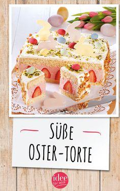 Oster-Rezept: Joghurt-Torte mit frischen Erdbeeren Easter Recipe: Yogurt cake with fresh strawberries Backen Baby, Baking Recipes, Dessert Recipes, Dinner Recipes, Yogurt Cake, Holiday Cookie Recipes, Easter Recipes, Fresh Recipe, Easter Dinner