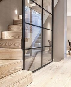We really think the Douglas floor and stair treads help create a nice and calm contrast against the steel-framed glass wall in this London… Modern Staircase, Staircase Design, Staircase Ideas, Hallway Ideas, Staircase Glass, Stair Design, Staircase Remodel, Staircase Makeover, Hallway Designs