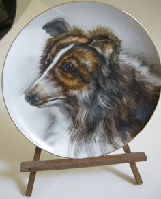 "Collie Australian Shepherd Dog  Ucagco China Plate 7""  Signed Ishi Japan Decor  #Ucagco"