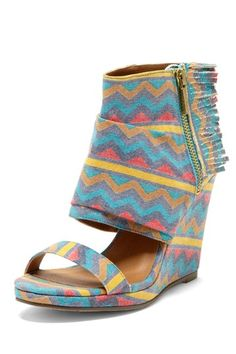 Michael Antonio Cedric Zigzag Print Canvas Wedge Sandal by Weekend Wedges on @HauteLook