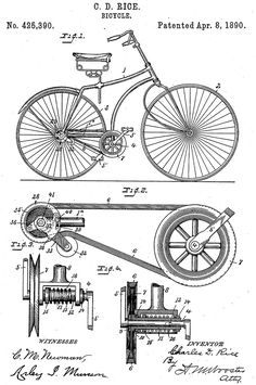 Trademark Fine Art Bicycle Patent 1890 White Canvas Art by Claire Doherty, Size: 35 x Multicolor Invention Patent, White Canvas Art, Velo Vintage, Vintage Bicycles, Graphisches Design, Images Vintage, Patent Drawing, Bicycle Art, Bicycle Design