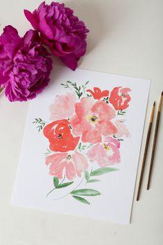 Watercolor Art Print - Coral Peonies & Poppies - Floral Print  - 8 x 10