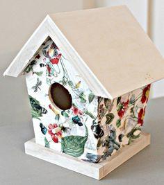 napkin decoupage birdhouses, chalk paint, crafts, decoupage