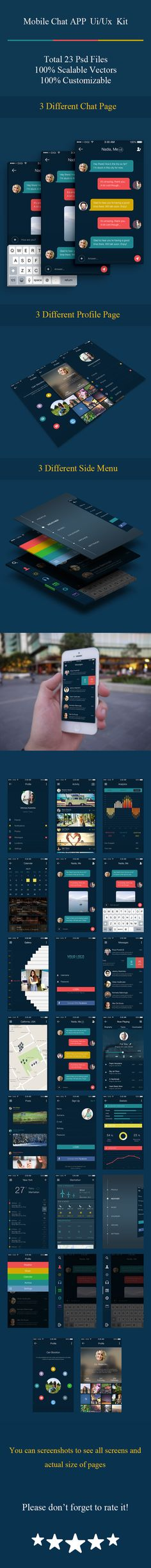 You can download the PSD here: http://graphicriver.net/item/mobile-chat-application-ui-ux-kit/12462259This mobile app ui kit on marketplace with more that unique 23 psds.All screens designed in retina size with high quality Photoshop shapes and elemen…