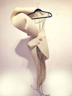 Architecture inspired sculptural 3D fluid fashion dress. Art installation. String art.