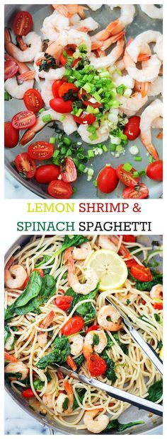Lemon Shrimp and Spinach Spaghetti - A quick, healthy, one skillet pasta dinner with spaghetti and shrimp tossed in a spinach mixture with tomatoes, garlic, and lemon juice. Fish Recipes, Seafood Recipes, Pasta Recipes, Dinner Recipes, Cooking Recipes, Healthy Recipes, Spaghetti Recipes, I Love Food, Snacks