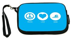 UKBK Peace Love Swim Brown Color - Neoprene Clutch Wristlet with Safety Closure - Ideal case for Camera, Cell Phone, Gameboy, Passport, Cosmetics case, Universal Cell Phone Case etc.. * For more information, visit now : Handbag Wristlets